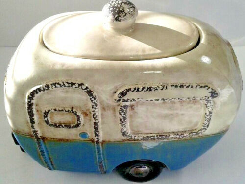Camper Van Retro Ceramic Cookie/Candy Jar Nice Vintage Detail Style Design-Clean