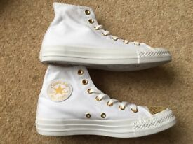 Ladies Converse Trainers, White with Gold Toe, Size 5 UK, Brand New in Box