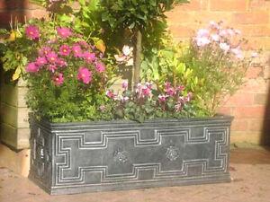 Large Trough Garden Planter Tudor Style Pewter  88cm  120 Litre   flower shrub