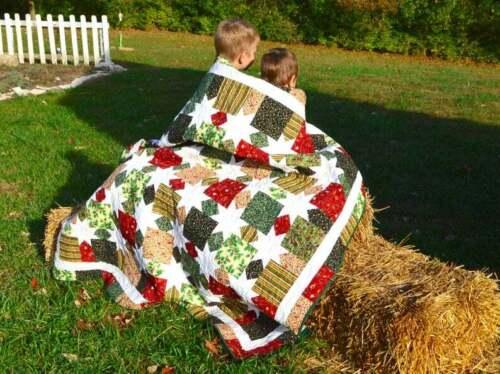 Homemade handmade classic Christmas quilt, cotton
