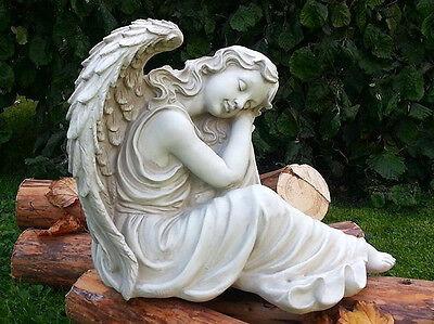 Himmlische Geschenk Stilvolle Skulptur Schlafender Engel Figur Garten Accessoire