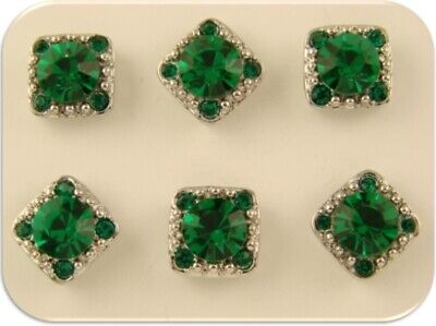 """2 Hole Beads """"Stardust Crystal GALA"""" 8mm Emerald Green Swarovski Elements QTY 6 for sale  Shipping to South Africa"""
