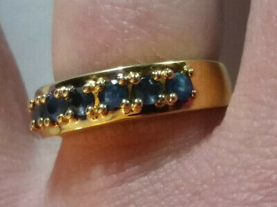 Sterling Silver Ring GOLD PLATED Natural Blue Sapphire Band 3mm SZ 7 4g 925 #9