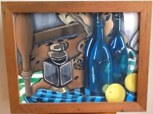 BOTTLES and LANTERN 29 x 23.5 $50. LADY 25.5x 31.5 $60. FLOWER o