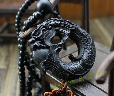 Ebony Wood Carving Chinese Fengshui Dragon Sculpture Prayer Beads Car Pendant