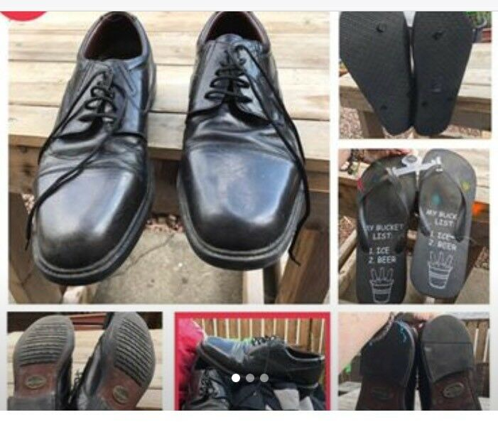 ✨NOW FREE✨ Vintage Oakridge UK 12 Men's Black Oxford Shoes ᵃⁿᵈ Flip Flops