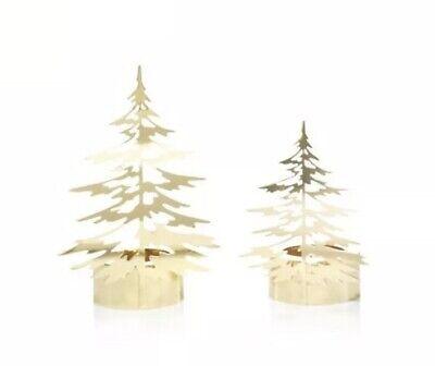 Yankee Candle WINTER TREES GOLD TEA LIGHT CANDLE HOLDER SET OF 2 NIB LARGE/MED