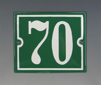 EMAILLE, EMAIL-HAUSNUMMER 70 in GRÜN/WEISS um 1955