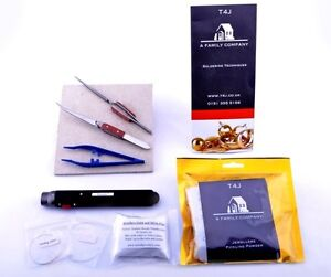 Silver ONLY Premium Soldering Kit & Pickle Mat Tweezers. 50cm Solder Wire