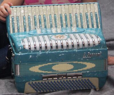 S Soprani Turquoise Blue 41/120 Piano Accordion Accordian Stroller Size