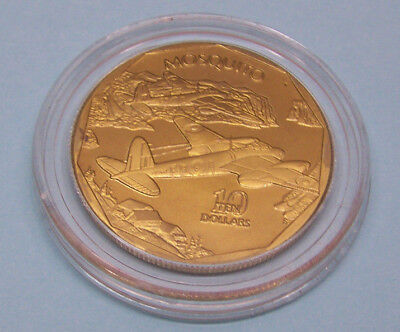 """1991 $10 Comm. Coin  """"Heroes of WW2"""" Marshall Islands - Mosquito - BRASS"""