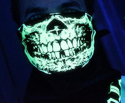 ULTRA GLOW IN THE DARK SKULL BANDANA HALF FACE MASK  RAVE BLACK LIGHT PARTY EDM