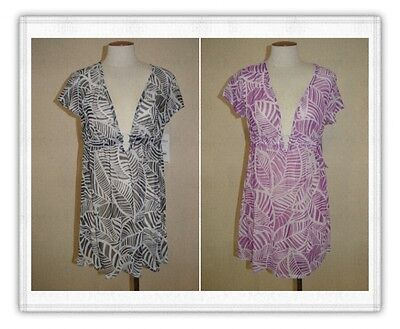 Catalina Womens Ring-Front V-Neck Mesh Swimsuit/Swim Cover-Up~Beach/Pool Wear