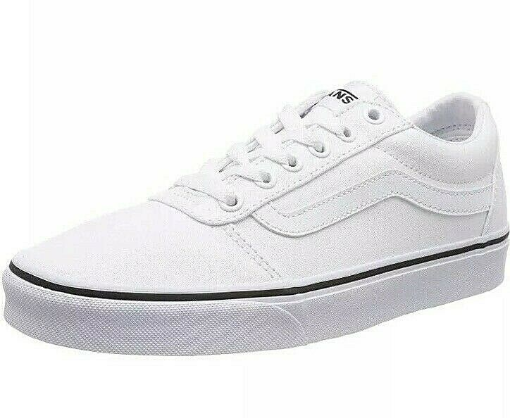 New Womens Vans Ward Canvas Trainers White Size UK 8 EUR 42