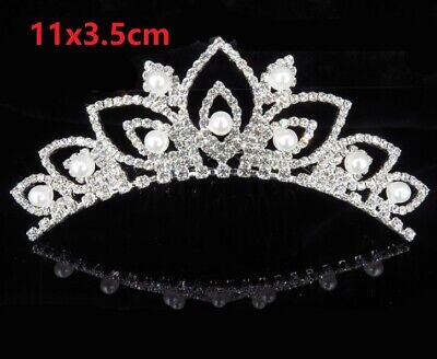Rhinestone Tiara Crown Princess Flower Pearl Girl Bridal Birthday Wedding Comb
