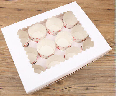 Simple White Cupcake/Muffin Boxes with Clear Window holds 12 INSERT(pack of 6 )
