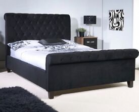 Superking Size Black Velvet Orbit Sleigh Bedframe