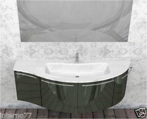 Mobile bagno curvo moderno sospeso mod ly vari colori con piano jolly w903 - Mobile bagno asimmetrico ...