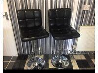 2X Black & Chrome Bar stools