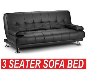 NEW 307 Sofa BED PU Leather 3 Three Seater Lounge fice Couch Futon Black