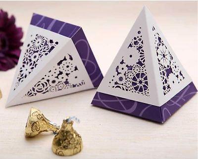 10x Elegant Wedding Bridal Bomboniere Favour Box - Purple; Bulk Buy Disc. Apply! ()