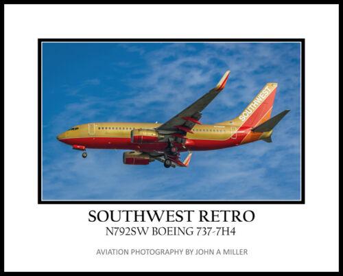 Southwest Airlines Retro Color Scheme Boeing 737 16x20 Photograph  (APPL10005)