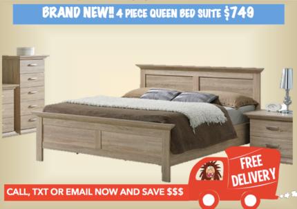4 PIECE QUEEN SIZE BEDROOM SUITE - BRAND NEW Delivered FREE