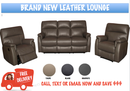 STYLISH BRAND NEW FULL LEATHER 3 SEATER + 2 RECLINER LOUNGE SUITE