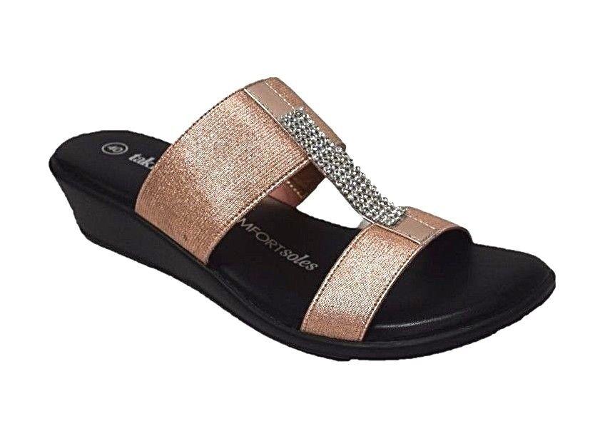 TS shoes TAKING SHAPE sz 8 / 39 Addison Slides wide fit rose gold bling NIB!