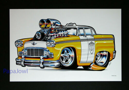 """Muscle Machines Print Art Poster 1959 Checkered Cab Rohan Day 11"""" by 17"""""""