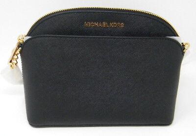 SALE! New Michael Kors Emmy Black Gold Saffiano Leather Dome Crossbody Purse