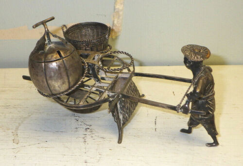 Antique Chinese Silver Condiment Cart Figural