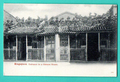SINGAPORE ENTRANCE TO A CHINESE HOUSE VINTAGE POSTCARD 515