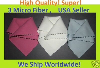 SUPER 3 pc RWB MICRO FIBER CLEANING CLOTH for iPad 4th Gen Tablet Screen
