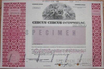 SPECIMEN Stock Certificate: 'Circus Circus Enterprises, Inc.' - Casino/Gambling