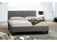 NEW - SARAH GREY FABRIC BED FRAME & MATTRESS - BRAND NEW - DELIVERED
