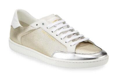 NIB $595 Saint Laurent Perforated Leather Metallic Court Classic Sneakers 43 10