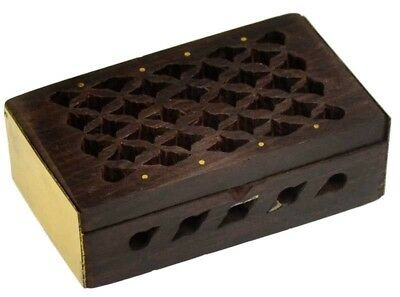 Mini Rosewood Wood & Brass Filigree Scent Releasing Oil Incense Resin Box 3