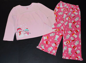 Lovely Carters Pink Snowman Fleece Pj's in Size 7 MINT!!
