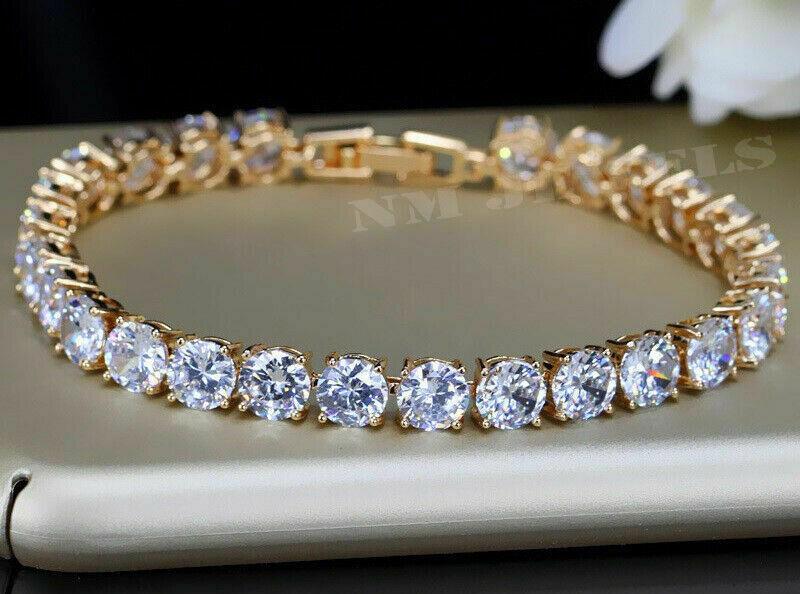 6Ct Round Cut VVS1 Diamond Women's Vintage Tennis Bracelet 14k Yellow Gold Over