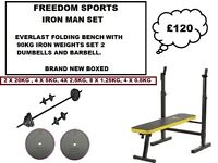 Everlast Folding Workout Bench with 90kg Cast Iron Weights Set (Brand new boxed)