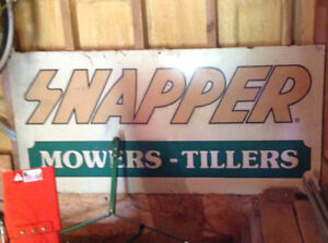 Tin sign snapper lawn mower