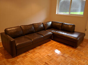Large Natuzzi Brown Leather Sectional