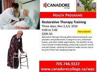 Restorative Therapy Training, Canadore College, Parry Sound