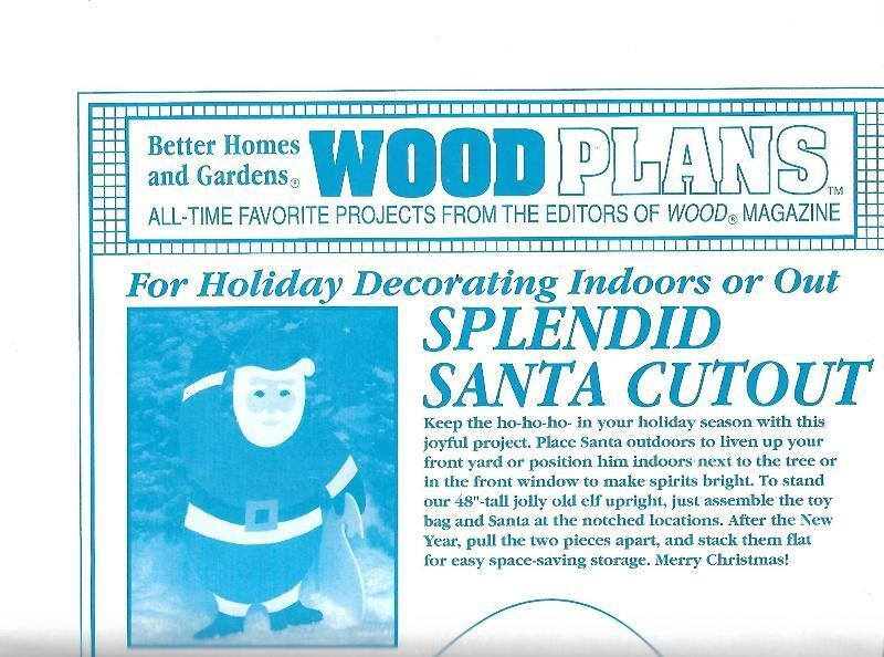 Splendid Santa Cutout 48 Wood Plans Pattern BHG Wood Magazine Full Size - $18.56