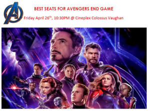 *Avengers End Game BEST 2 SEATS Friday April 26 @10:30PM $450