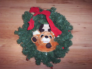 Animated Reindeer Wreath