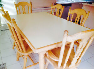 Solid Oak Dining Set Table with 6 Chairs - Custom Built
