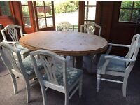 Shabby chic cottage extendable dining table x6 chairs and cabinet