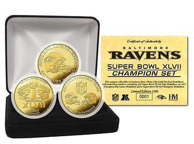 Baltimore Ravens Super Bowl XLVII / 47 Champions 24KT Gold Medallion 3 Coin Set (Baltimore Ravens Coin Set)